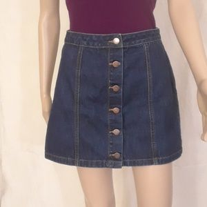 Forever 21 Button Front Jean Mini Skirt  - Size M